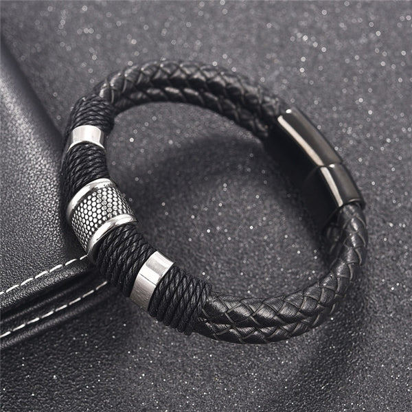 Braid Genuine Leather Bracelet Titanium Stainless Steel Men Woven Bangle