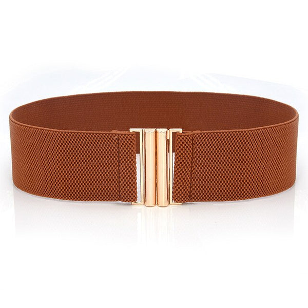 Women Wide Elastic Waist Belt Dress Accessories Corset Waist Metal Buckle