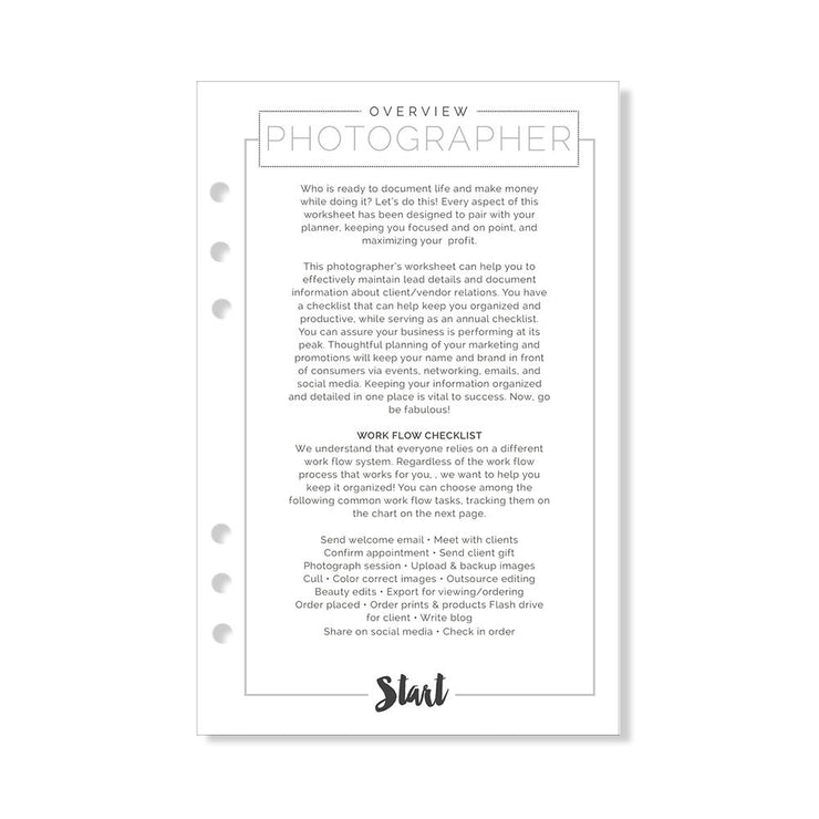 A5 Fancy Pants Photographer Add-In Insert Pack
