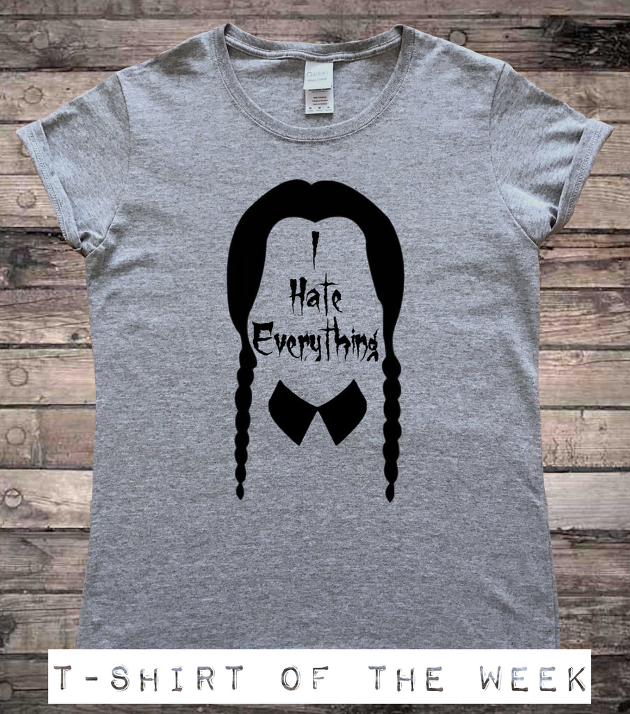 wednesday addams i hate everything ladies halloween t shirt