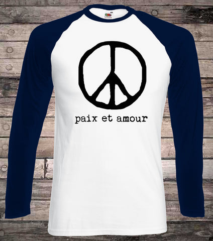 14f176bfb Peace Sign Peace and Love Long Sleeve T-Shirt