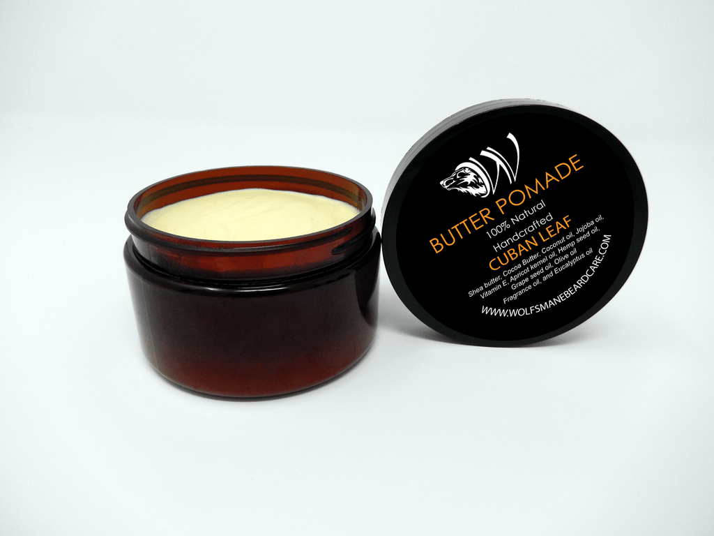 All-natural Professional Butter Pomade - Cuban Leaf Scent - Wolf's Mane Beard Care