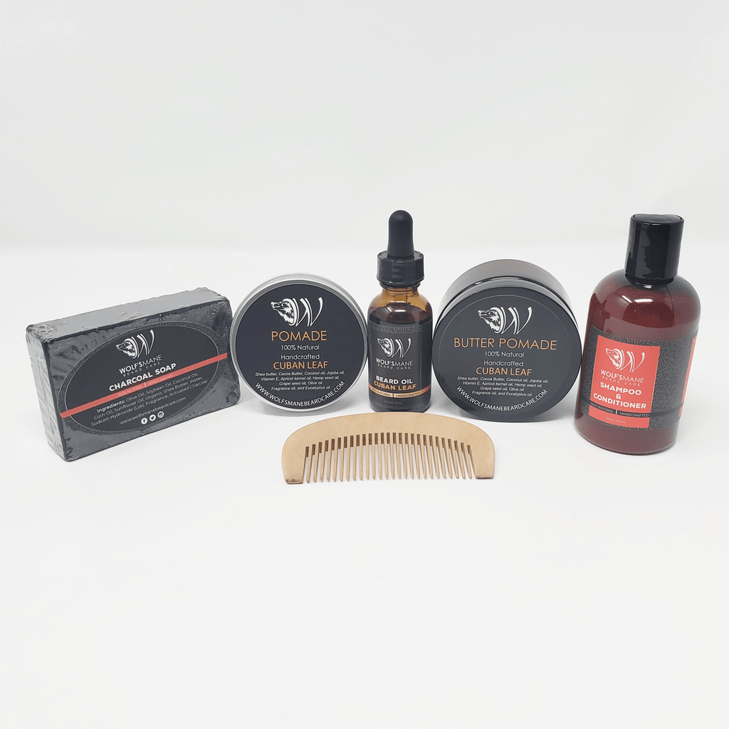 All-natural Wolf Pack kit - Cuban Leaf scent - Wolf's Mane Beard Care