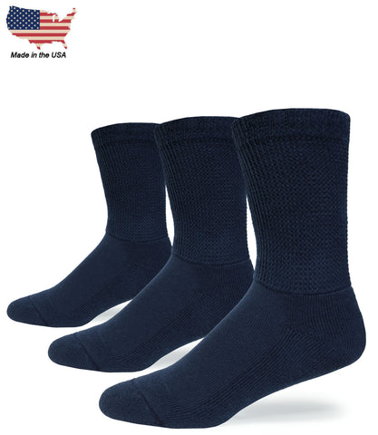 Foot Comfort Diabetic Care Navy Cotton Mid-Calf USA Socks 3 Pairs