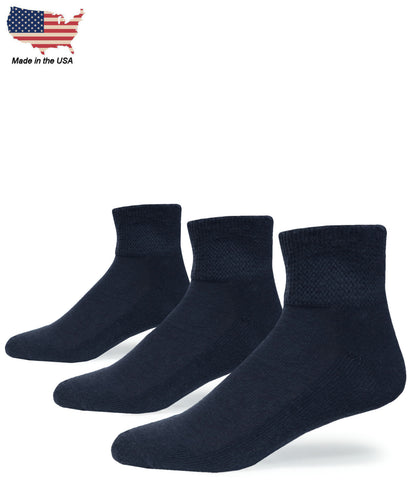 Foot Comfort Diabetic Care Navy Cotton Quarter USA Socks 3 Pairs