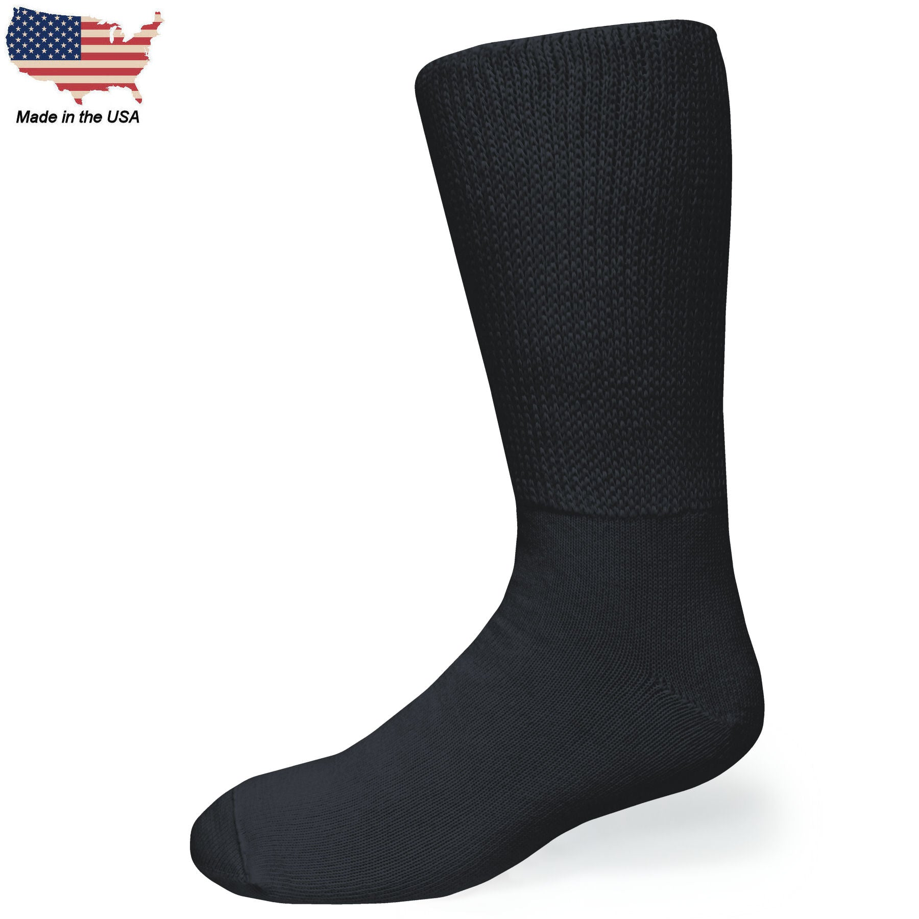Bigger Big Foot Comfort Cotton Diabetic Black Crew Socks