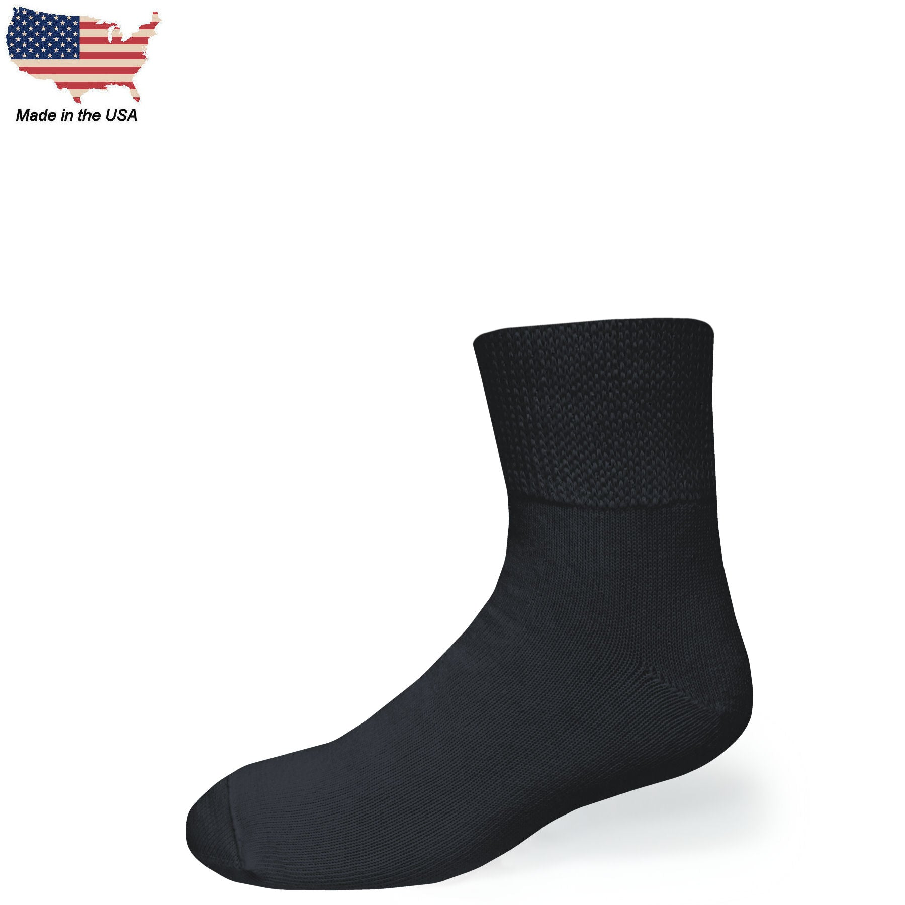 Bigger Big Foot Comfort Cotton Diabetic Black Quarter Socks