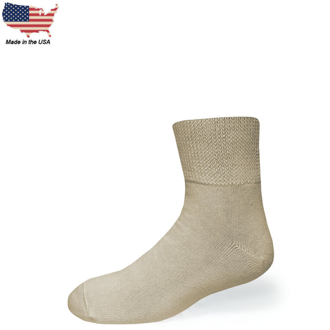Bigger Big Foot Comfort Cotton Diabetic Tan Quarter Socks