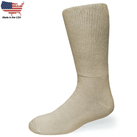 Bigger Big Foot Comfort Cotton Diabetic Tan Crew Socks