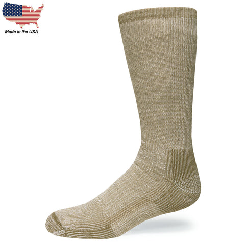 Foot Comfort Cozy Wolf Tan Crew Socks