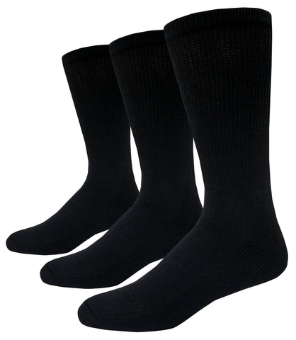 Foot Comfort Diabetic Care Black Cotton Crew Socks 3 Pairs