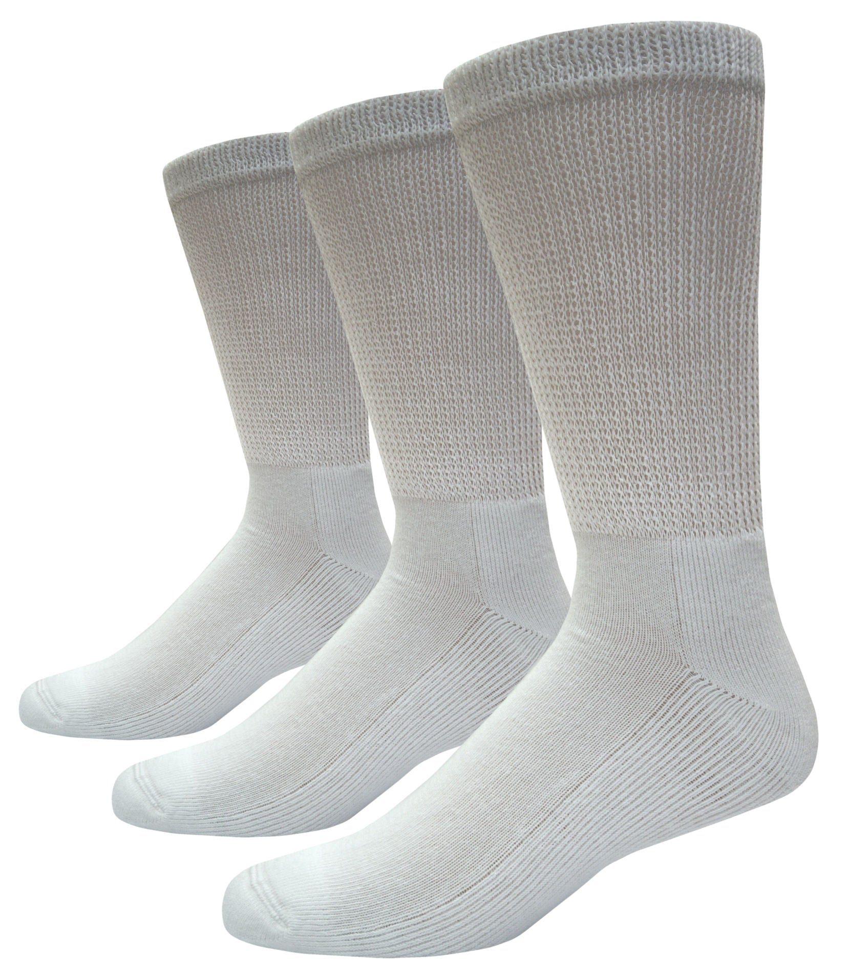Foot Comfort Diabetic Care White Cotton Crew Socks 3 Pairs