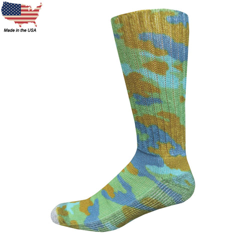 Foot Comfort Diabetic Care Fashion Camo Crew Socks