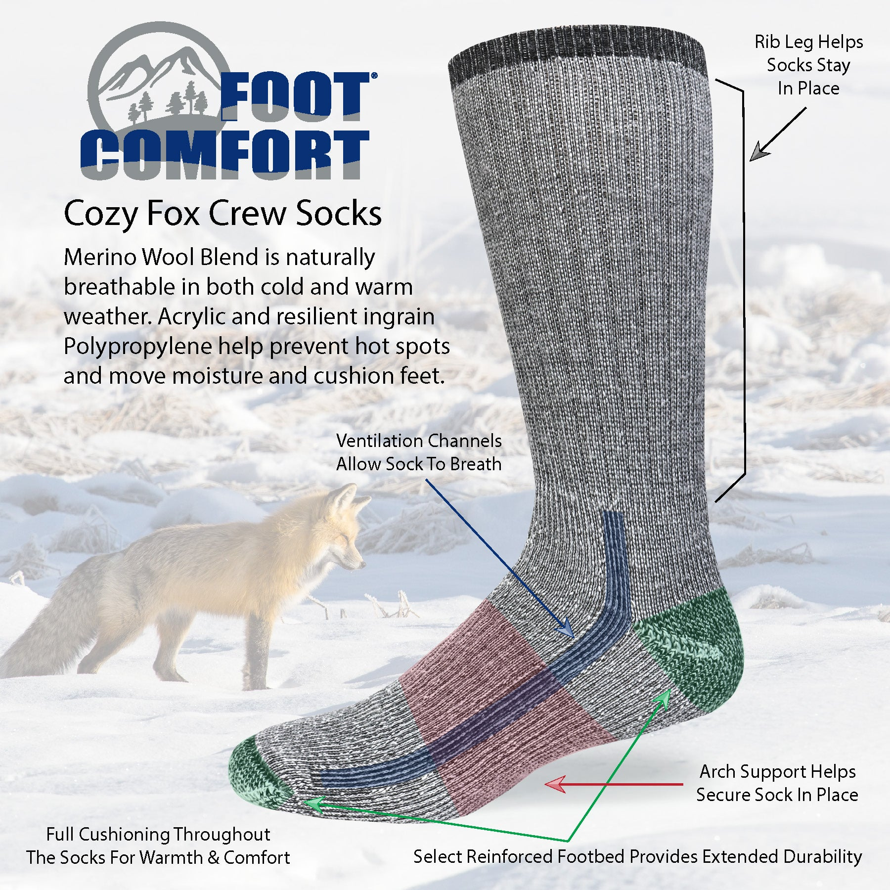Foot Comfort Cozy Fox Crew Socks