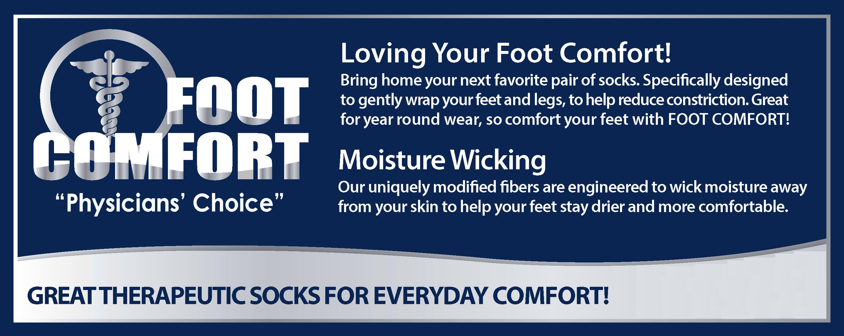 Foot Comfort Diabetic Care Navy Crew Socks
