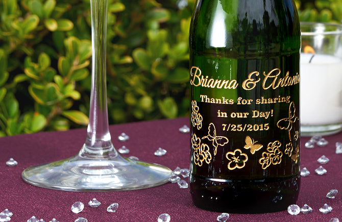Mini Champagne Bottles Wedding Favors – Etching Expressions