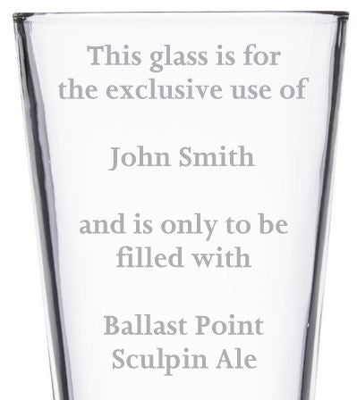 Beer Pint Glass - Your Text