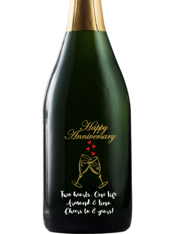 California Champagne - Happy Anniversary Heart Flutes