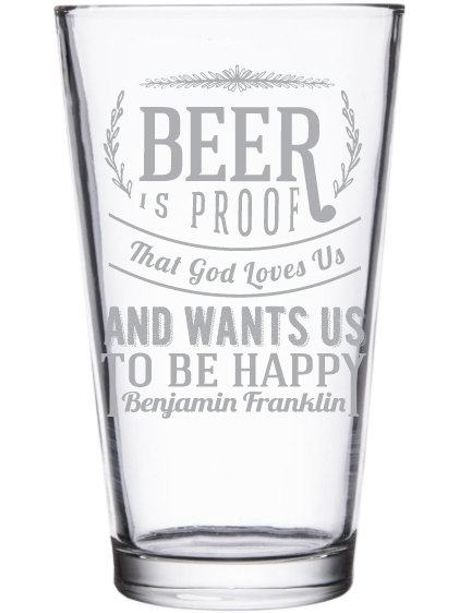 Beer Pint Glass - Pick a design