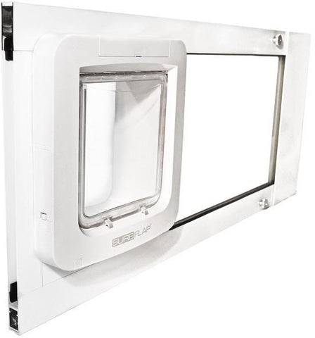 Patio Pacific 07ppc21-ew Thermo Sash 2e, with SureFlap Microchip Pet Door - white, 31- 34 adjustment range - Peazz.com - 3
