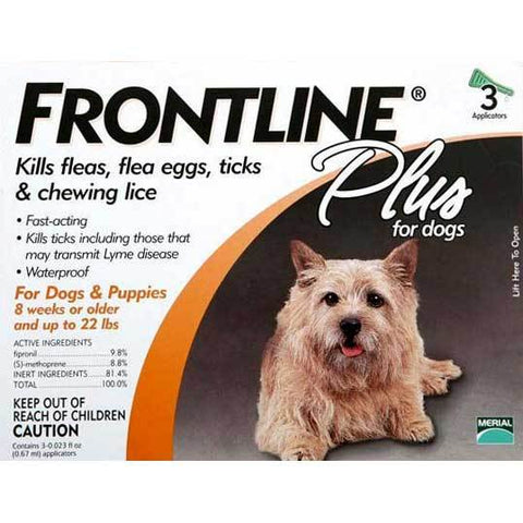 Frontline 11-22-3PK-PS Flea Control Plus for Dogs And Puppies 11-22 lbs 3 Pack