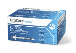 "UltiCare 17380 UltiCare VetRx Insulin Syringe U100 1/2 cc, 28G X 1/2"", 100/Box - Peazz Pet"