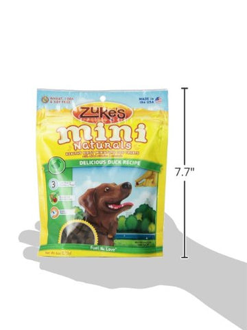Zuke's Z-33053 Mini Naturals Moist Miniature Treat for Dogs Delicious Duck 6 oz.