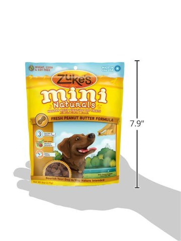 Zuke's Z-33052 Mini Naturals Moist Miniature Treat for Dogs Peanut Butter 6 oz.