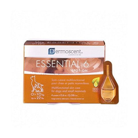 Dermoscent Essential 6 Spot-On Skin Care For Small Dogs 0-10 kg (0-22 lbs), 4 Tubes - Peazz Pet
