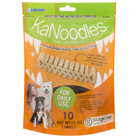 Forcans 19042 KaNoodles Premium Dental Chews & Treats XLarge Dog, 10 Chews - Peazz Pet