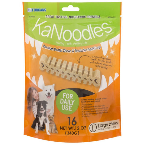 Forcans 19041 KaNoodles Premium Dental Chews & Treats Large Dog, 16 Chews - Peazz Pet
