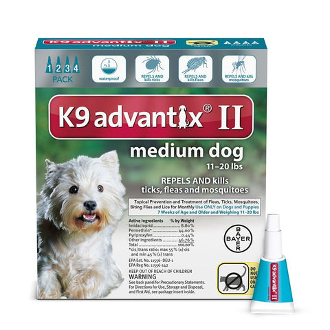 Advantix ADVX-TEAL-20-4 Flea and Tick Control for Dogs 10-22 lbs 4 Month Supply