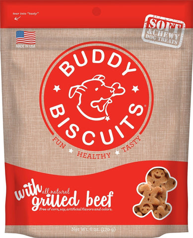 Buddy Biscuits CS-17100 Original Soft and Chewy Dog Treats Grilled Beef 6 ounces