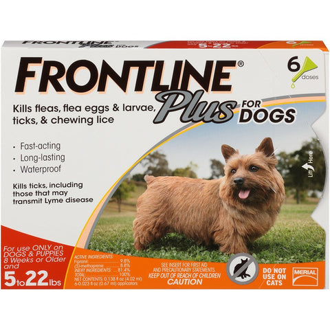 Merial 10191 Frontline Plus For Dogs 89132 lbs, Red 6 Tubes - Peazz Pet