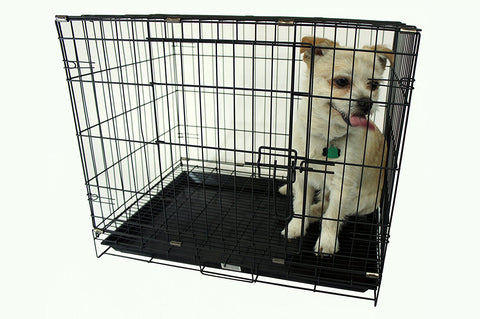 "YML Group SA24G 24"" Dog Kennel Cage With Bottom Grate, Black"
