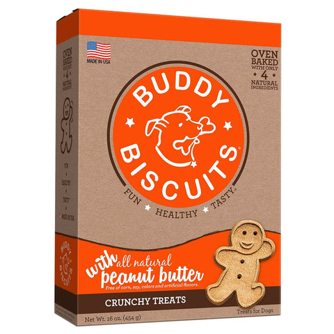Buddy Biscuits CS-12500 Original Oven Baked Crunchy Treats Peanut Butter 16 ounces