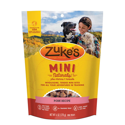 Zuke's Z-33055 Mini Naturals Moist Miniature Treat for Dogs Roasted Pork 6 oz.