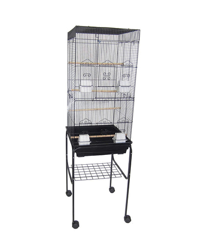 "YML 6824 3/8"" Bar Spacing Tall Flat Top Bird Cage with Stand"
