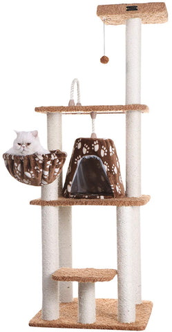 "Armarkat A6403 Classic Cat Tree with Basket, 64"", Chocolate"