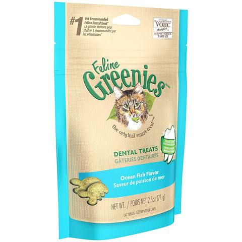Nutro 13968 Feline Greenies Dental Treats, Ocean Fish Flavor, 2.5 oz - Peazz Pet