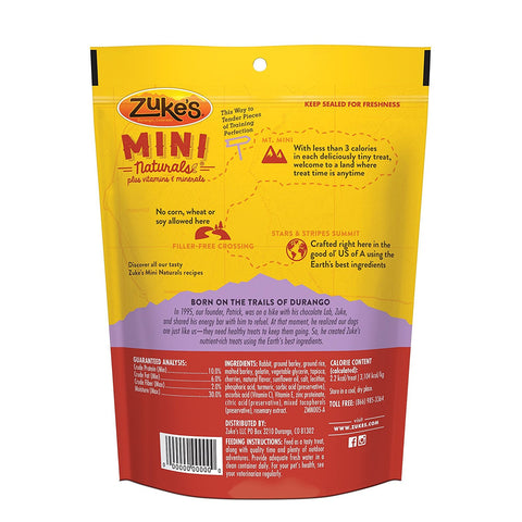 Zuke's Z-33056 Mini Naturals Moist Miniature Treat for Dogs Wild Rabbit 6 oz.