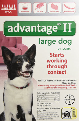 Advantage RED-55-6 Flea Control for Dogs and Puppies 21-55 lbs 6 Month Supply