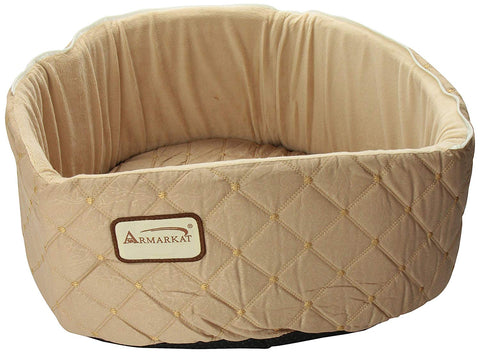 Armarkat Hooded Quilted Light Apricot Cat Bed