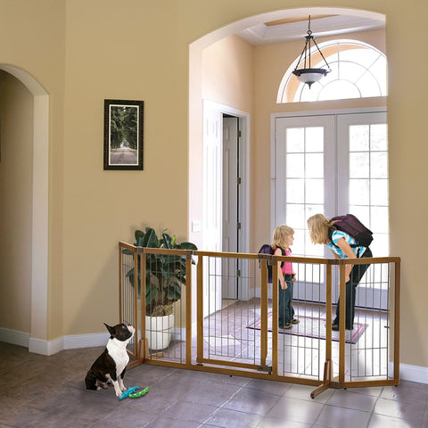 Richell R94904 Wide Premium Plus Freestanding Pet Gate with Door