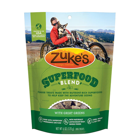 Zuke's Z-61055 Supers All Natural Nutritious Soft Superfood Dog Treats Tasty Greens 6 oz.