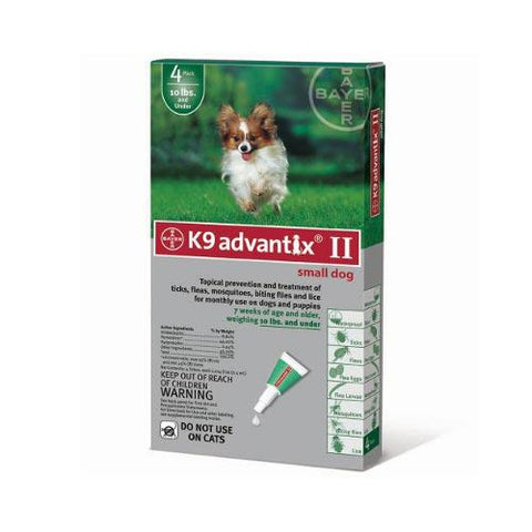 Advantix ADVX-GREEN-10-4 Flea and Tick Control for Dogs Under 10 lbs 4 Month Supply