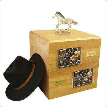 Dapple, Gray, Running PH700-3039 Horse Cremation Urn - Peazz Pet