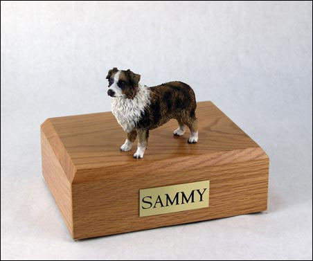 Australian Shepherd, Brown/White TR200-530 Figurine Urn - Peazz Pet - 1