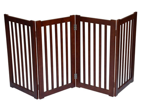 "MDOG2 MK806-720WA 4-Panel Free Standing Pet Gate 72""W x 32""H - Dark Walnut - Peazz.com"