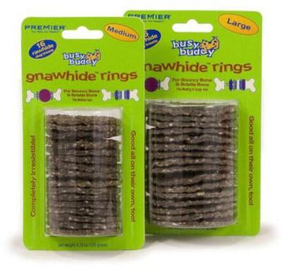 Premier BBGNRINGCNL Busy Buddy Gnawhide Rings - Cornstarch 16 pack - Peazz.com